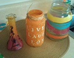 recycled glass jars handpainted with gloss enamels.