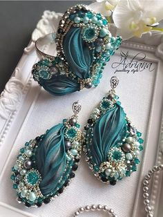 Blue zircon shibori set by CrystalPearlStudio