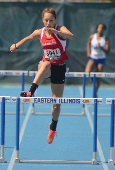 Barrington's Addison Coy takes third place in the 300-meter hurdles during the Class 3A girls track state finals at O'Brien Stadium in Charleston on Saturday.