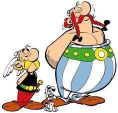 El primer dibujo de Asterix y Obelix en 1959 en la revista Pilote.Un elemento clave para el éxito de las series es el hecho de que contiene elementos cómicos para lectores de distintas edades: a los niños suelen gustarles las peleas y otros gags visuales, mientras que los adultos suelen apreciar las alusiones a la cultura clásica, las figuras contemporáneas y los juegos de palabras.