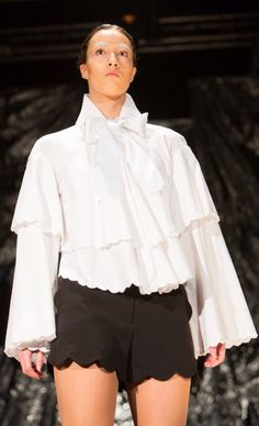 Scallop embroidered White Shirt with large Satin Bow. Inspired by Feminine Russian Drape. By Glasgow School of Art Fashion student Aymie Black.