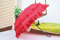 Bridal wedding umbrella red with long handle best gift free shipping on Singin In The Rain. @Love Rain