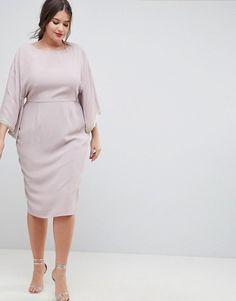 e75aac3f574f ASOS Curve | ASOS DESIGN Curve - Vestito midi a kimono con finiture con  perle Vestito