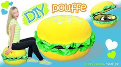 How To Make A Giant Burger Storage Pouffe – DIY Giant Burger Pouf Chair - PoufBurger. In this video I show how to make a very useful storage pouffe chair shaped like a hamburger. You can use it as a chair, footstool, storage or as a seriously cool room Pouf Chair, Diy Chair, Beanbag Chair, Diy Pouffe, Drinking Straw Crafts, Bean Bag Couch, Life Hacks Youtube, Diy Donuts, Kawaii Diy