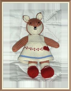 Fox knit animal knitted toy dress heart red shoes by cuteycritters, £15.00