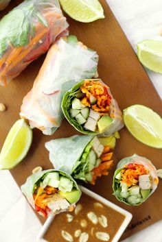 Easy recipe for Vegan Rice Paper Rolls with Hoisin Peanut Dipping Sauce. Filled with avocado, carrots, cucumbers, chillies, and other healthy ingredients.