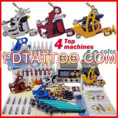 Professional Tattoo Machine Kit Completed Set With 4 Tattoo Guns and 40 Colors 4 Tattoo, Color Tattoo, Tattoo Kits For Sale, Beginner Tattoo Kit, Professional Tattoo Kits, Tattoo Practice Skin, Coil Tattoo Machine, Tattoo Power Supply, Bottle Tattoo