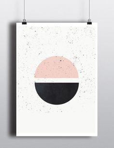 Mid Century Poster, 18x24, minimalist art print, geometric print, Pastel colors…