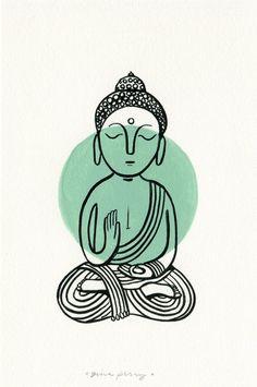 Light Aqua Buddha Dot – ink and gouache painting on paper - Items similar to Buddha Dot: Light Aqua on Etsy Buddha Kunst, Buddha Art, Art And Illustration, Illustrations, Buda Wallpaper, Iphone Wallpaper, Wallpaper Backgrounds, Accessoires Hippie, Yoga Kunst