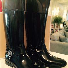 MICHAEL KORS HARNESS TALL RAINBOOT Color: Black/coffee:  Material; Rubber Michael Kors Shoes Winter & Rain Boots