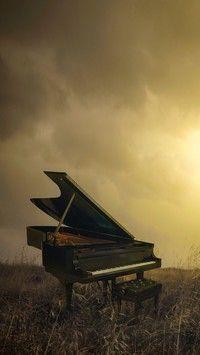 Fortepian na łące o zachodzie słońca