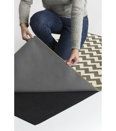 5x7' Ruggable 2pc Washable Rug System-Chevron Rich Grey & White
