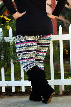 Printed Fleece Lined Leggings for fall! #beinspiredboutique