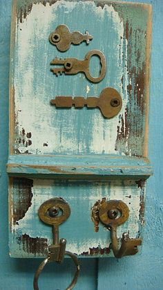 Dark Turquoise Small Key Holder With Vintage Keys and Hardware