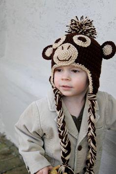 Crochet Monkey Hat for toddler or baby, Crochet Hat