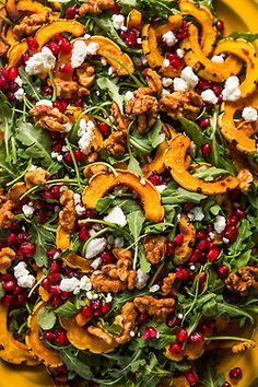 Roasted Delicata Squash Salad with Pomegranate   Dinner was Delicious