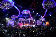 Connected by 'tentacles' straight out of Star Trek? Suspended from a ceiling above the audience? Our AIRchitecture set for the South African Music Awards did all that and more. Tentacle, Music Awards, Event Decor, Ufo, Screens, Star Trek, African, Ceiling, Trey Ceiling