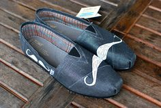 Many Mustache Metallic Pewter TOMS by BStreetShoes on Etsy, $99.00