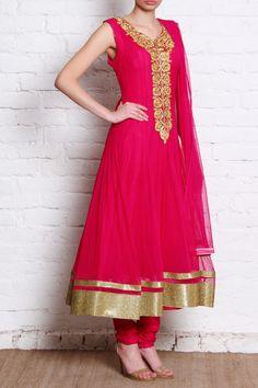 Closet Rani Pink'k | Pink Net Anarkali | SCARLETBINDI.COM