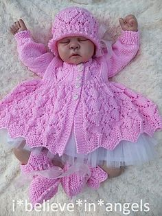 KNITTING PATTERN KSB 56 *VALENTINA* TO MAKE MATINEE COAT, CARDIGAN, DRESS, CLOCHE HAT AND BOOTIES IN 2 SIZES FOR NEWBORN BABY OR REBORN DOLL.