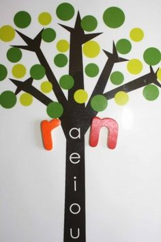 Have you ever used a Vowel Tree in your school room?  A Vowel Tree helps children develop the pre-reading skill, word blends.  If a Vowel Tree is new to you, here are a few tips.    Start by placing one consonant from your moveable alphabet, such as r in front of a.  Say ra to the child.     Move down the trunk until youve demonstrated all of the word blends: re, ri, ro...