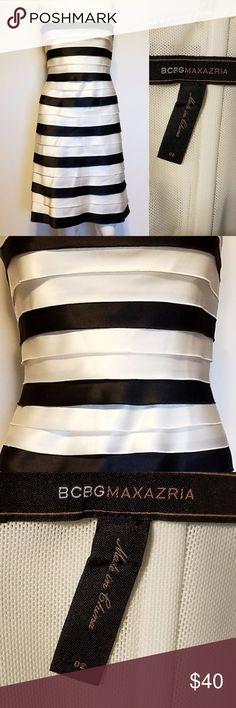 BCBG Black and White Layered A line dress Black and white layered satin event dress absolutely gorgeous dress BCBG Dresses Strapless