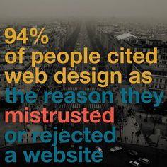Read this and read this again. Now just think about it... Just think that out of 100 people 94 of them will MISTRUST or REJECT your website. Now let's go back to the stat: first impressions last for YEARS. What if your clients mistrusted your website and company? How could that be affecting your sales and conversions? Luckily you have many ways to fix this! Just by making web design a priority is a step towards a better face of your company.