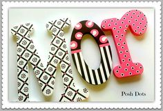 Personalized Custom Painted Decorative Wooden Wall Letters featuring Modern Designs and Patterns...Priced Per Letter