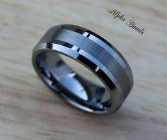 Stunning Men's Tungsten Carbide Wedding Band, 8MM, Men's Sizes 8-11, Tungsten Men's Ring on Etsy, $65.00