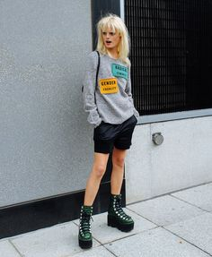 Hanne Gaby Odiele in Acne Studios top and Alexander Wang boots.