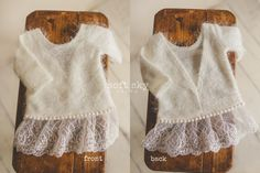 Sweater newborn dress. Off white fuzzy and soft top.Deep V-neck back for easy on and off.Size: newborn****SHIPPING INFO:RTS items will be shipped on Monday 02/01/2016PRE ORDER items will be shipped on Friday 02/12/2016RTS items ordered with Pre Order items will be shipped once Pre Orders are ready. Please do separate orders if you would like your RTS items shipped sooner.****