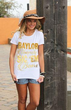 Baylor metallic gold print crew tee