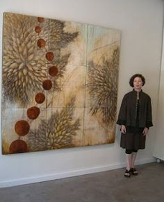 "Alicia Tormey | Evolution | Encaustic on 9 panels - 72"" x 72""."