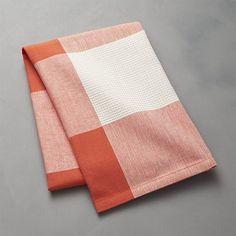 Orange Check Dish Towel | Crate and Barrel