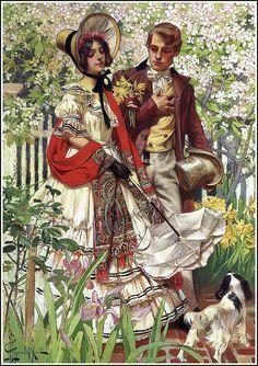 """J. C. Leyendecker """"The Garden Walk"""" 1904"""
