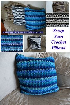 Scrap yarn pillow - Free Crochet pattern by Meladora's Creations