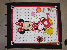 """Minnie Mouse """"Growing Your Garden"""" Wall Hanging 35.5"""" x 42"""" (backed in black cotton fabric) with 5 loops to hang up by ShawnasSpecialties on Etsy"""