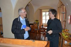 """""""Dr.Antoine Chaigne (specialist on musical acoustics) with Paul McNulty in his piano workshop"""""""