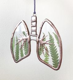 Repurposed Clear Stained Glass Copper Anatomical Lungs – Ferns - Famous Last Words