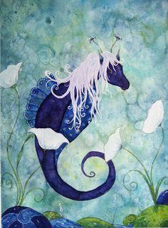 Indigo Seahorse by Martina Loos