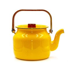 Mid Century Yellow Enamel and Teak Wood Teapot  Honey Your