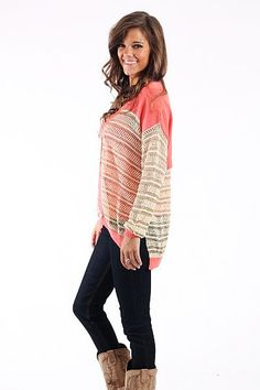 """Girls Have Fun Cardigan $42.00 This cardigan is the cutest! We love the coral and ivory combo, and we especially love the gold threading that makes this cardigan oh so special! You don't want to miss out on this great find!   Fits true to size. Miranda is wearing a small.   From shoulder to hem:  Small- 25""""  Medium- 26""""  Large- 27"""""""
