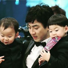 Handsome appa. Song ilkook . Dad's triplets Asian Actors, Korean Actors, Superman Cast, Song Il Gook, Song Triplets, All In One, Sons, Vitamins, Twin