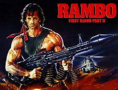 "Academy Award-nominee Sylvester Stallone (Best Actor, ""Rocky,"" Best Supporting Actor, ""Creed,"" returns to the role that made him a household name when ""Rambo: First Blood Part II. Streaming Movies, Hd Movies, Movies To Watch, Movies Online, Movie Tv, First Blood, Rambo 2, John Rambo, Sylvester Stallone Rambo"