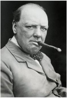 Winston Churchill Smoking Cigar Archival Photo.