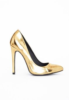 Channel major metallic vibes this season in these stunning gold stilettos. With slip on fit, killer heel and pointed toe these heels are fierce. Team with your favourite LBD for a luxe look. Gold Heels, Women's Pumps, Shoes Heels, Court Heels, Metallic Shoes, Killer Heels, Shoe Collection, High Heels