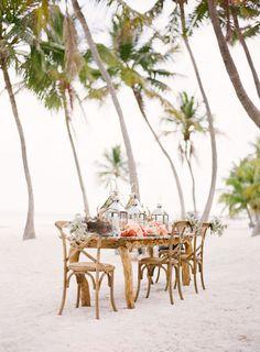 lovely beach picnic or wedding reception