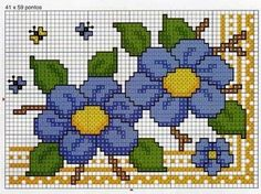 Gráficos de ponto cruz: Barradinho flores Simple Cross Stitch, Cross Stitch Rose, Cross Stitch Borders, Cross Stitch Flowers, Counted Cross Stitch Patterns, Cross Stitch Charts, Cross Stitch Designs, Cross Stitching, Cross Stitch Embroidery