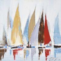 Tableau voiliers bleus et rouges 31,5x31,5''                              …
