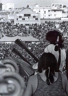 Jimmy Page and Bonzo photographed from behind Now That's a Drummer